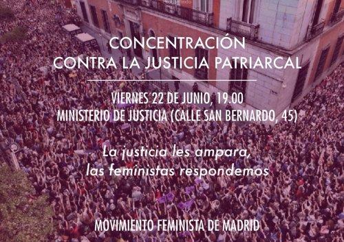 Convocatoria de manifestación en Justicia por libertad provisional de La Manada