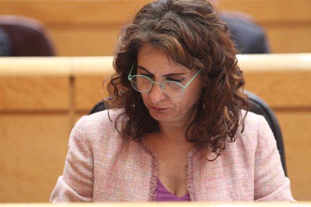 María Jesús Montero durante el debate de los Presupuestos en el Senado