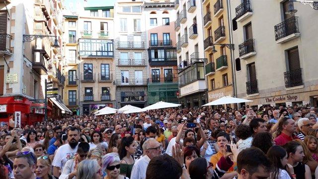 Concentración en Pamplona contra la libertad provisional de La Manada.