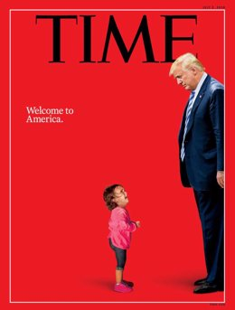 La portada de la revista Time donde se muestra a la niña con Donald Trump