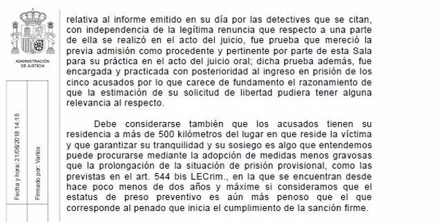 Auto de la Audiencia de Navarra sobre la libertad provisional de 'La Manada'