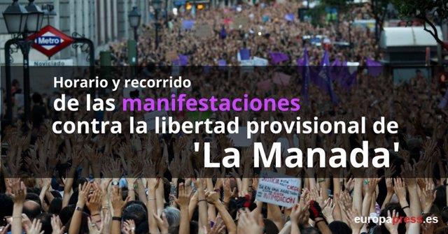 Manifestaciones contra la libertad provisional de 'La Manada'