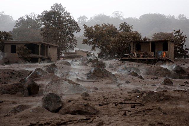 Una de las localidades afectadas por la erupción del volcán de Fuego