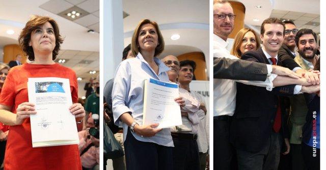 Montaje de Santamaría, Cospedal y Pablo Casado durante la entrega de avales