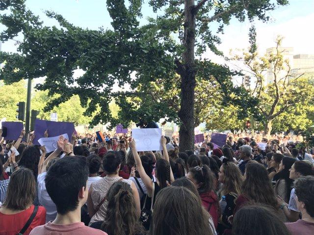 Concentración contra la puesta en libertad de 'La Manada'