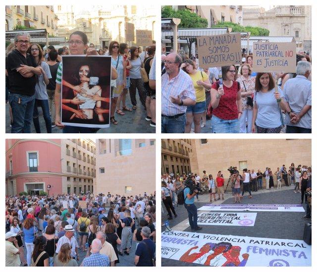 Imagen de la protesta en Murcia contra la libertad provisional de La Manada