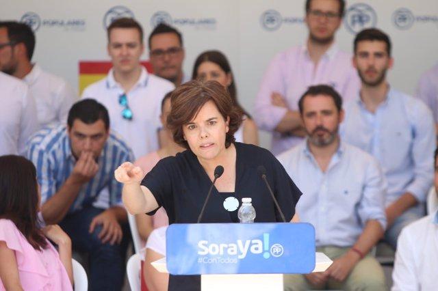 Soraya Sáenz de Santamaría, candidata la Presidencia del PP, en acto en Málaga