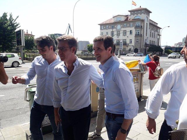 Casado, Feijóo y Diego Calvo, en A Coruña