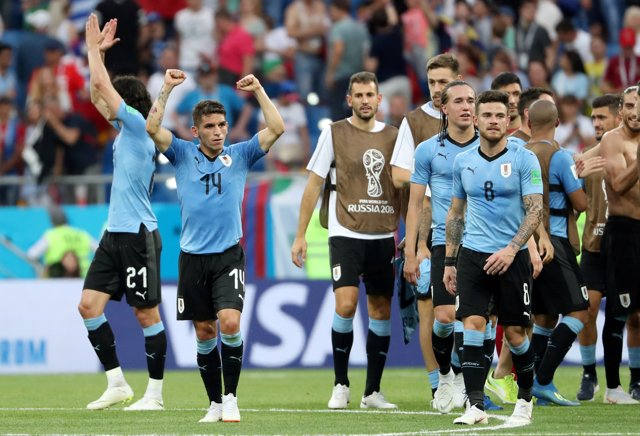 FILE PHOTO: Uruguay's Lucas Torreira and Nahitan Nandez celebrate after the Worl