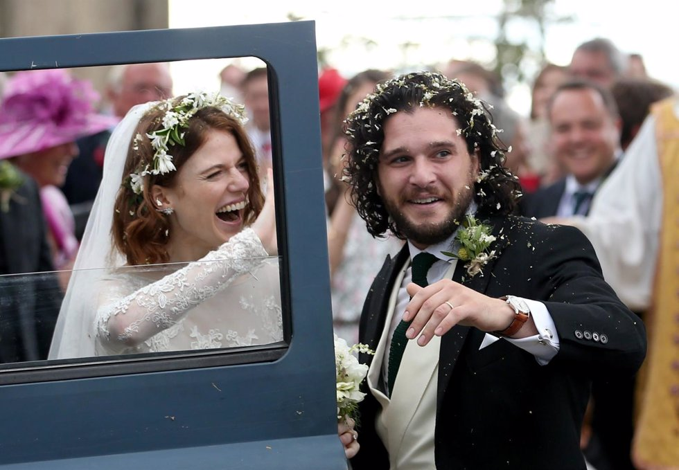 Kit Harington and Rose Leslie at Rayne Church, Kirkton of Rayne in Aberdeenshire