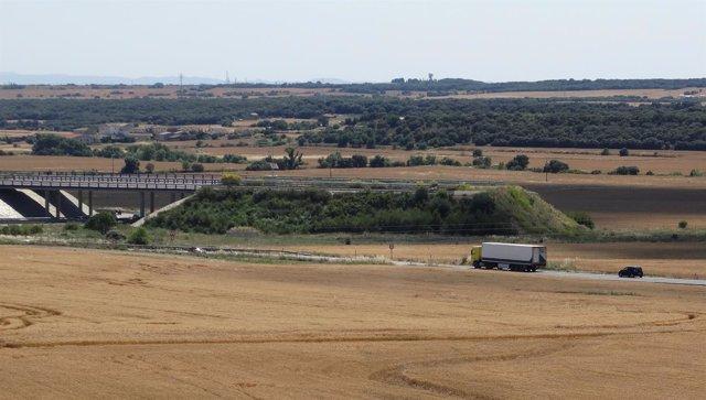 Final de la autovía A-22 Lerida-Siétamo a 10 kilómetros de Huesca.