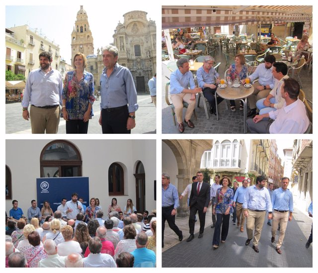 Visita de Cospedal a Murcia, acompañada por López Miras y otros cargos públicos