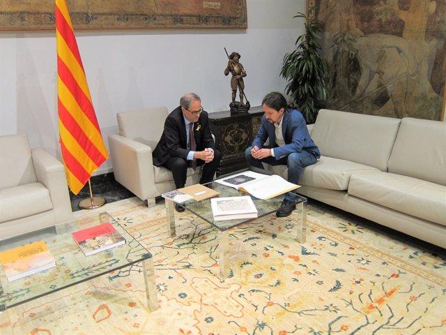 El Presidente Catalán, Quim Torra, Y El Líder De Podemos, Pablo Iglesias