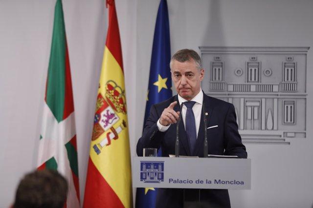Roda de premsa en la Moncloa del president del Govern basc, Iñigo Urkullu