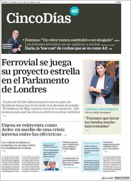 Las portadas de los periódicos económicos de hoy, martes 26 de junio