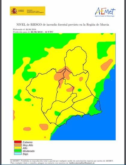 Meteorología establece un riesgo alto de incendios forestales en toda la Región