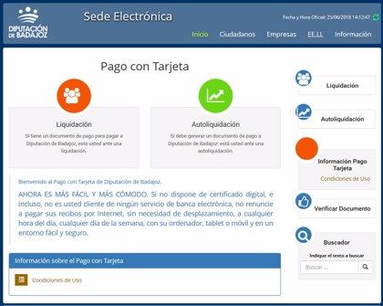 La Diputación de Badajoz extiende el pago con tarjeta a la totalidad de sus servicios