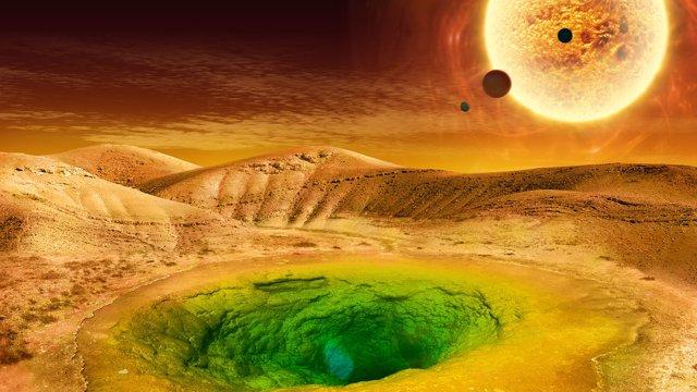 Concepto de cómo podría ser la vida en un planeta distante