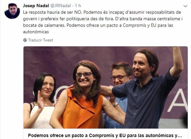 El tuit de Josep Nadal