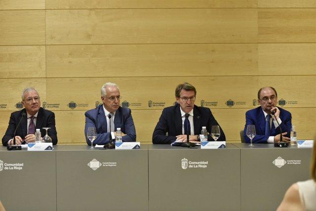 Valcárcel, Ceniceros, Feijóó y Lambán en comparecencia de prensa