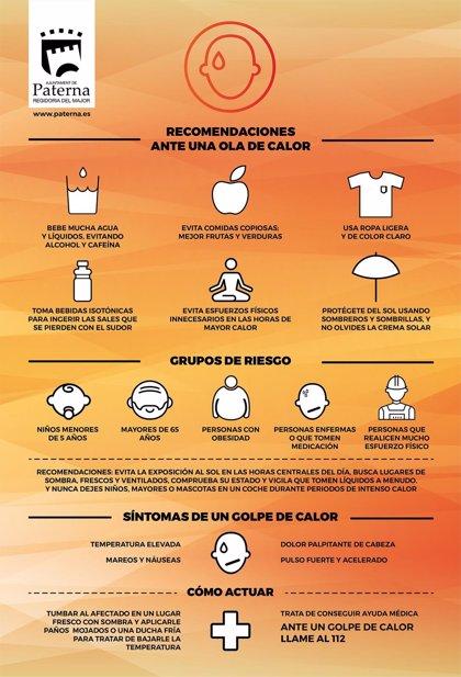 Paterna activa una campaña para prevenir los efectos negativos en la salud durante las olas de calor