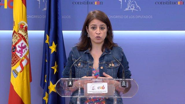 Adriana Lastra en el Congreso de los Diputados