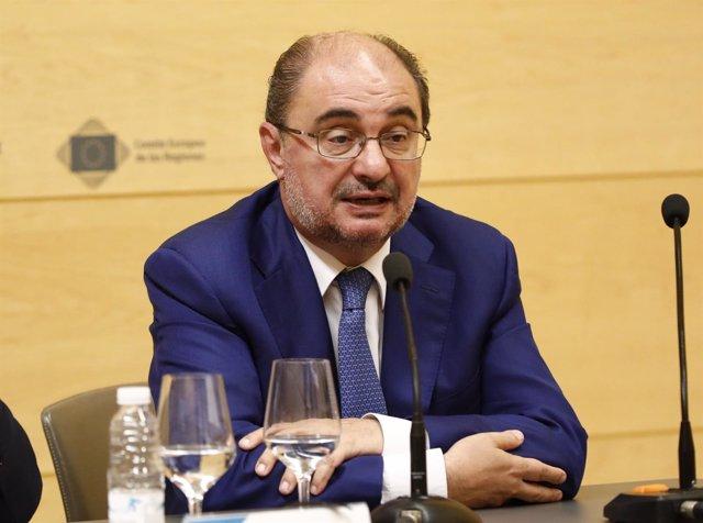Javier Lambán en Logroño en la Jornada sobre Europa y el cambio demográfico