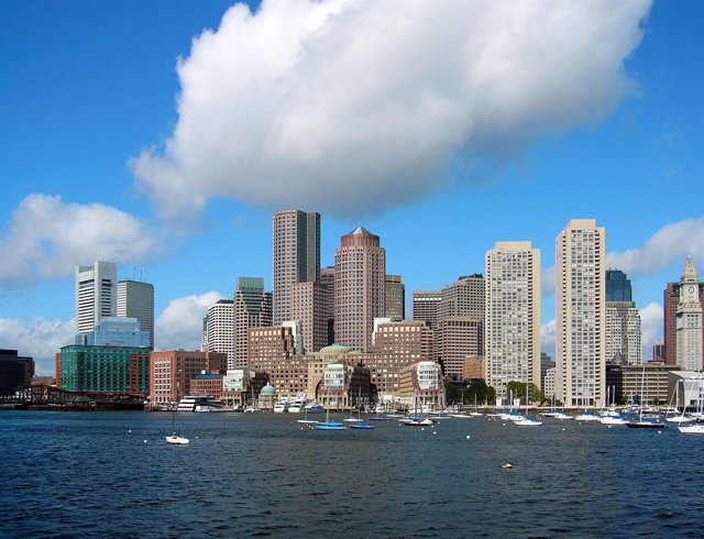 Boston, rascacielos, ciudad, estados unidos