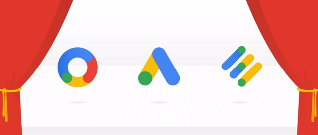 Logos de Google Ads, Google Marketing Platform y Google Ad Manager (izq a dcha)