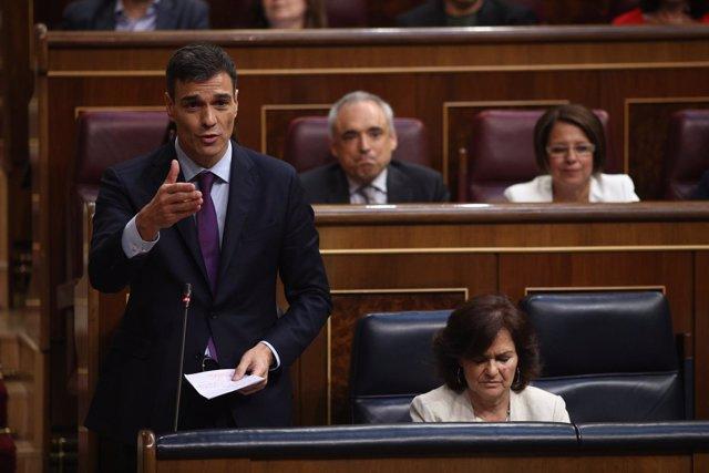 Pedro Sánchez interviene en la sesión de control al Gobierno en el Congreso