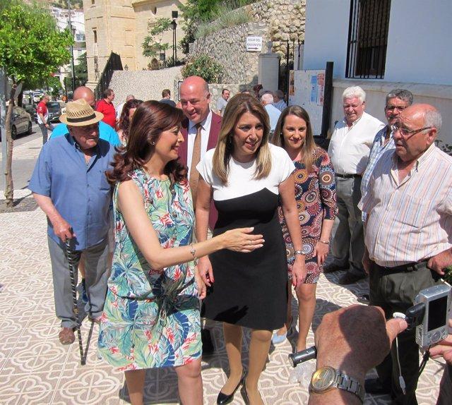 Susana Díaz, durante la visita a Luque