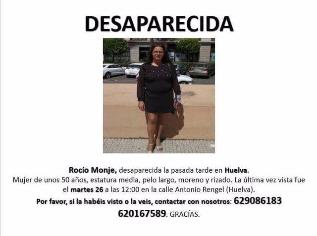 Cartel con motivo de la desaparición de Rocío Monje.