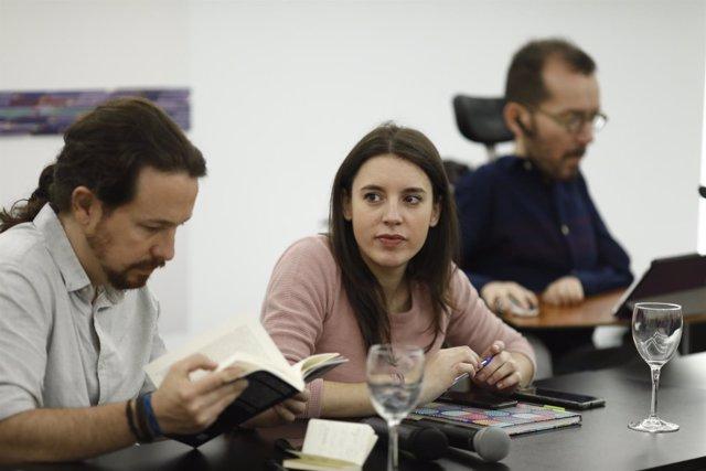 Pablo Iglesias e Irene Montero durante el encuentro Rumbo 2020