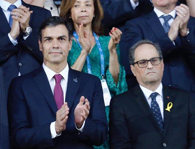 Felipe VI, Pedro Sánchez, Quim Torra y Meritxell Batet en los Juegos de Tarragon