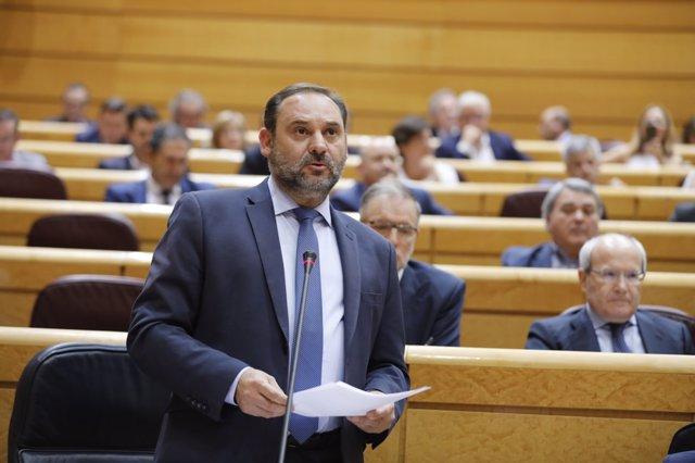 El ministro de Fomento, José Luis Ábalos, en el Senado