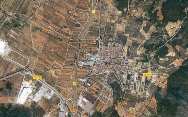 Vista aérea de la localidad castellonense de Cabanes