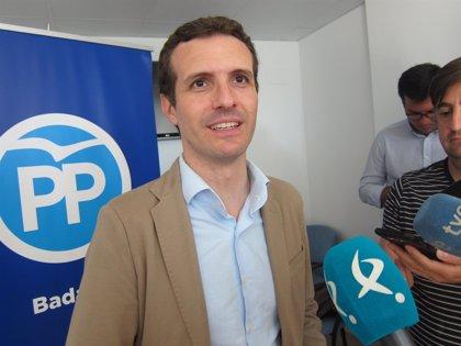 """Pablo Casado aboga por que """"se participe"""" y """"se deje votar en libertad"""" en el proceso para la Presidencia del PP"""