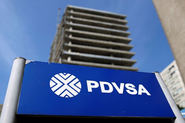 FILE PHOTO: The logo of the Venezuelan state oil company PDVSA is seen in a gas