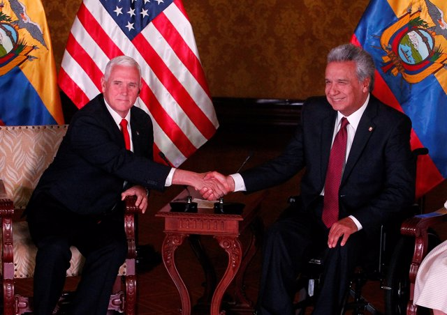 Mike Pence y Lenín Moreno