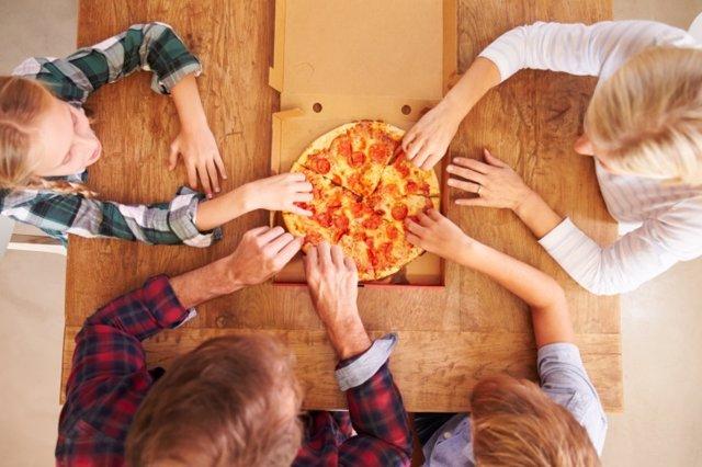 Pizza, comida, familia, comer