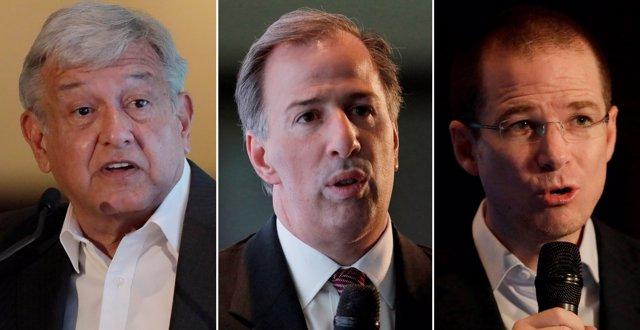 Andrés Manuel López Obrador, José Antonio Meade y Ricardo Anaya