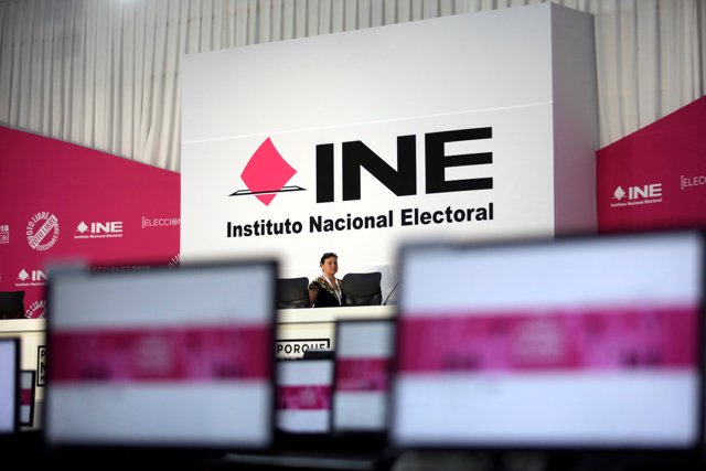 An interior view of the National Electoral Institute (INE) headquarters is seen
