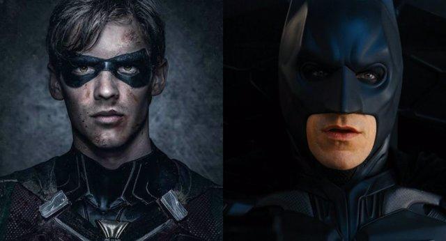 Robin está imitando el traje de Batman en El Caballero osuro: La leyenda renace