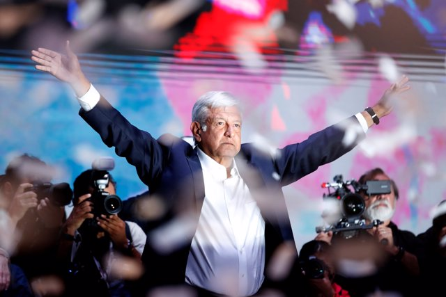 Presidential candidate Andres Manuel Lopez Obrador gestures as he addresses supp