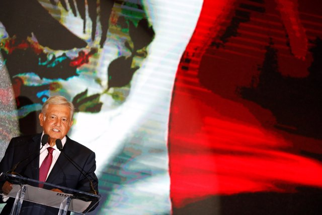 Presidential candidate Andres Manuel Lopez Obrador addresses supporters after po