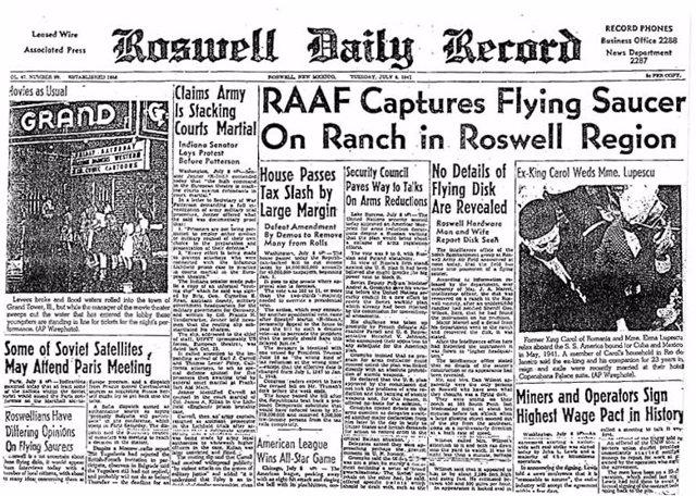 Portada del Roswell Daily Record del 8 de julio de 1947