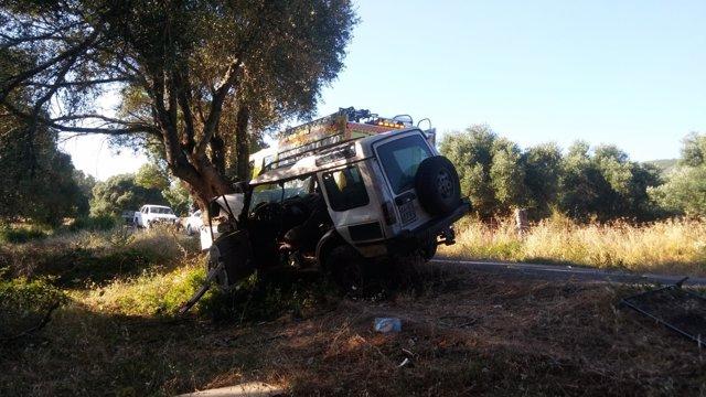 Estado en el que ha quedado el vehículo en Alcalá de los Gazules