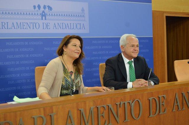 Carmen Crespo y José Antonio Miranda (PP-A) en rueda de prensa