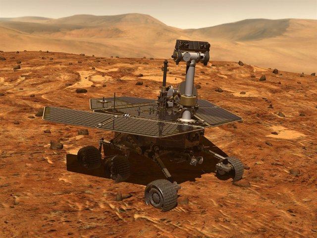 Recreación artística del rover Opportunity en Marte
