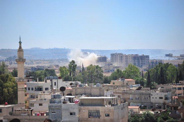 Ataques en la parte sureste de Deraa, Siria